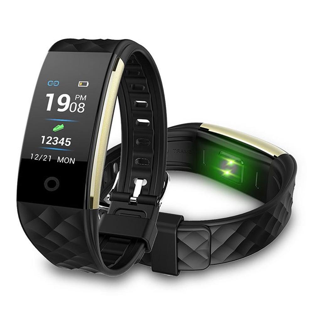 彩色螢幕心率觸控防水智能藍芽手環-黑