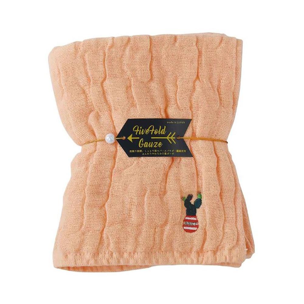 Nicott 日本五重珍珠紗毛巾〈粉橘仙人掌〉