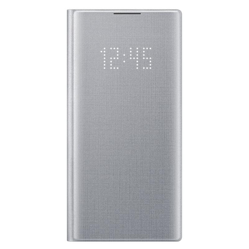 SAMSUNG Galaxy Note10 LED皮革翻頁式皮套 銀