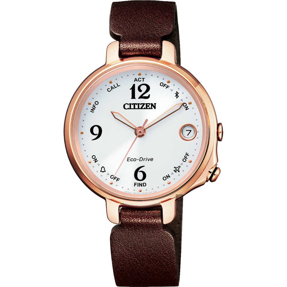 CITIZEN 星辰 限量光動能藍芽女錶-玫瑰金框x棕錶帶(EE4028-10A)