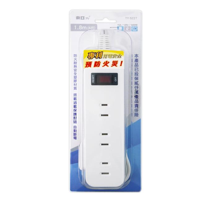 【東亞】2孔1開關3插座延長線_1.8公尺(6尺) TY-S227-6尺