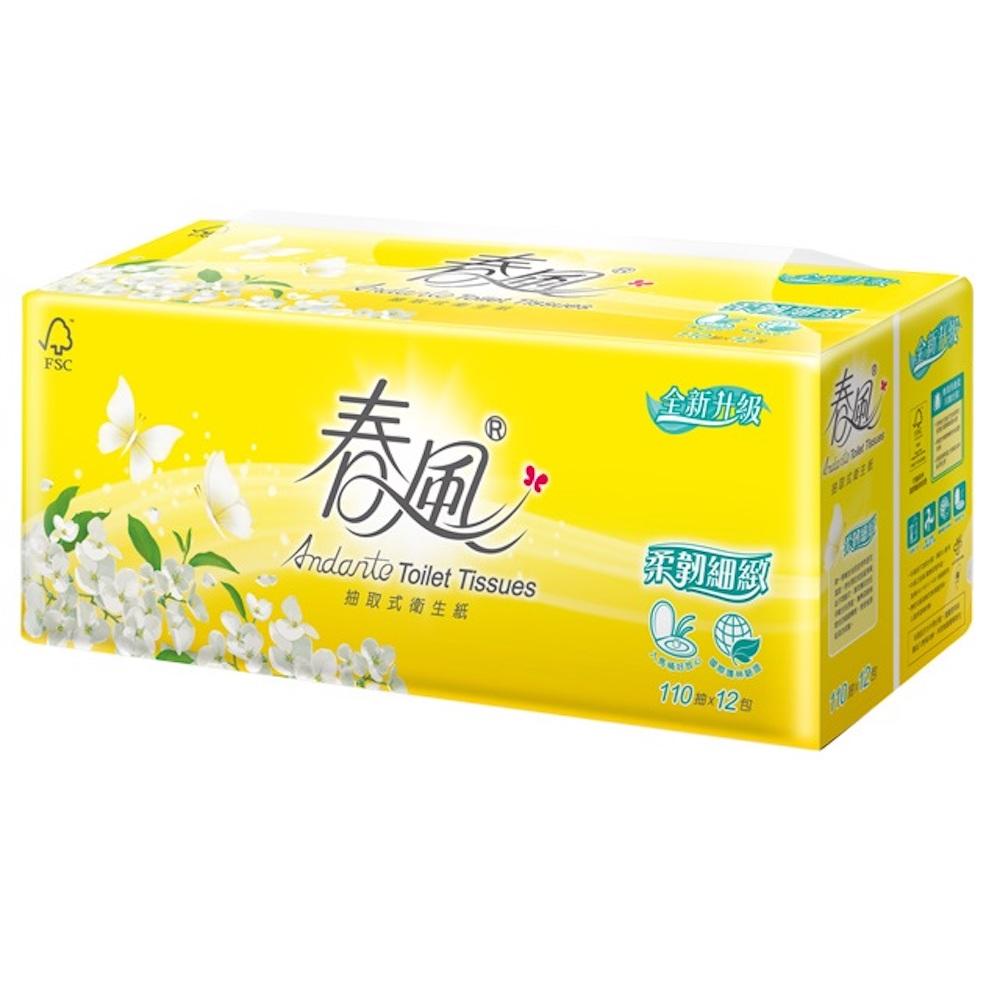 春風 柔韌細緻抽取式衛生紙110抽*12包*6串/箱