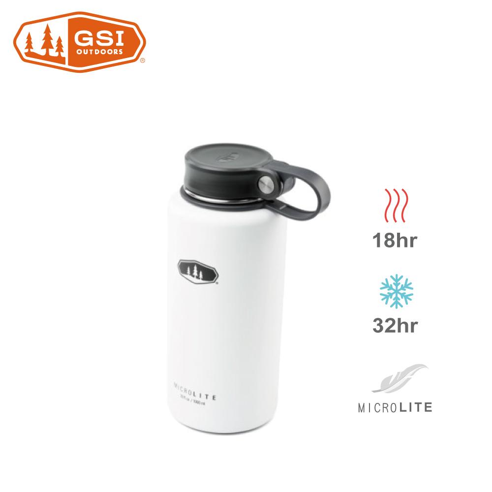 【美國GSI】輕量單手提環不鏽鋼保溫瓶-1L白色
