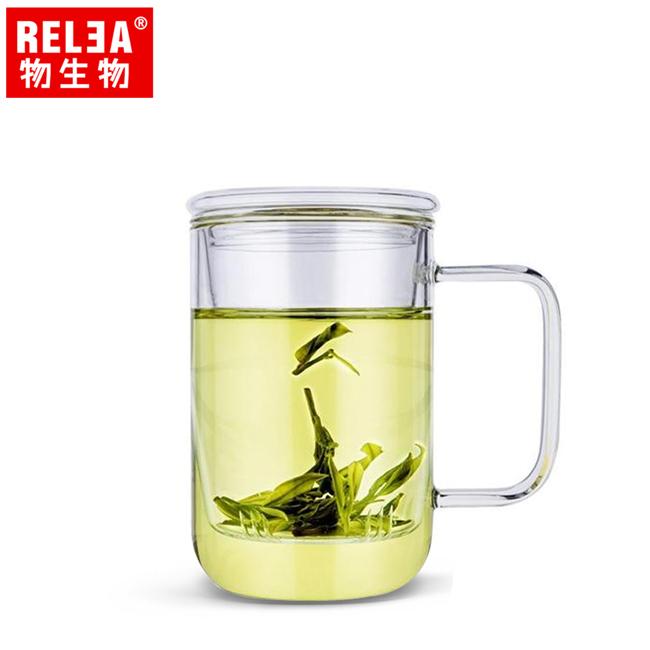 買1送1【香港RELEA物生物】420ml君子耐熱玻璃泡茶杯(附濾茶器)