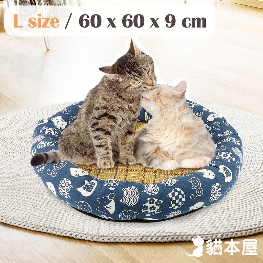 貓本屋 日式和風寵物涼蓆墊(L號/60x60cm)-藍底白貓