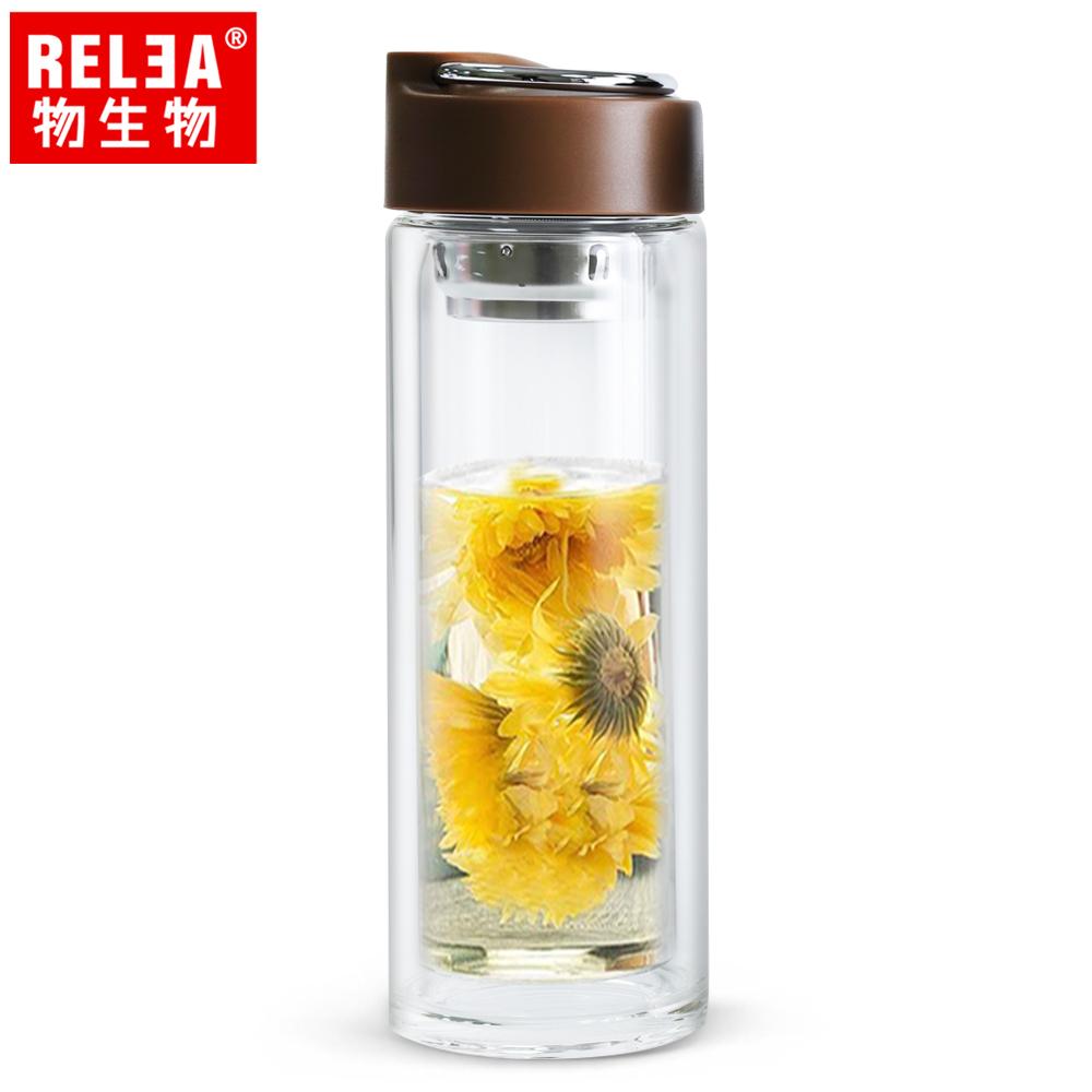【香港RELEA物生物】390ml悅己不鏽鋼提手耐熱雙層玻璃杯(魔力棕)