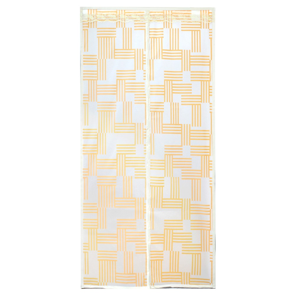 【FJ】防蚊自動閉合EVA材質磁吸空調門簾(03款黃線條)
