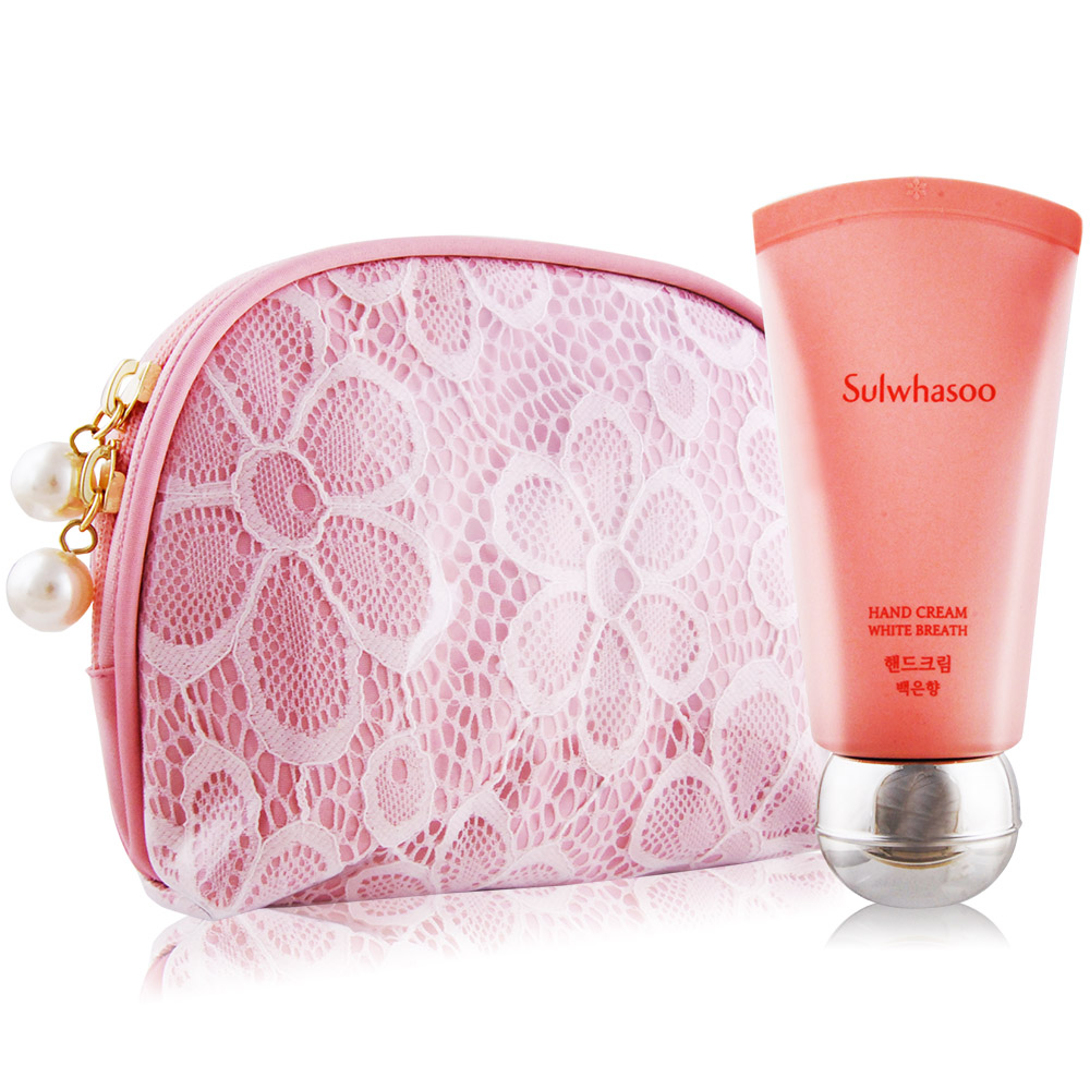 Sulwhasoo 雪花秀 護手霜-梅雪之綻(40ml)+粉漾蕾絲化妝包
