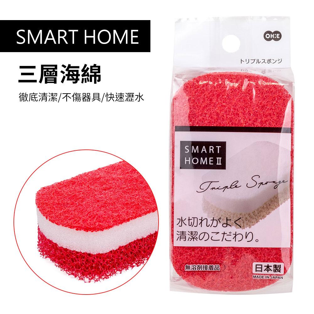 【日本OHE】SMART HOME三層海綿-紅