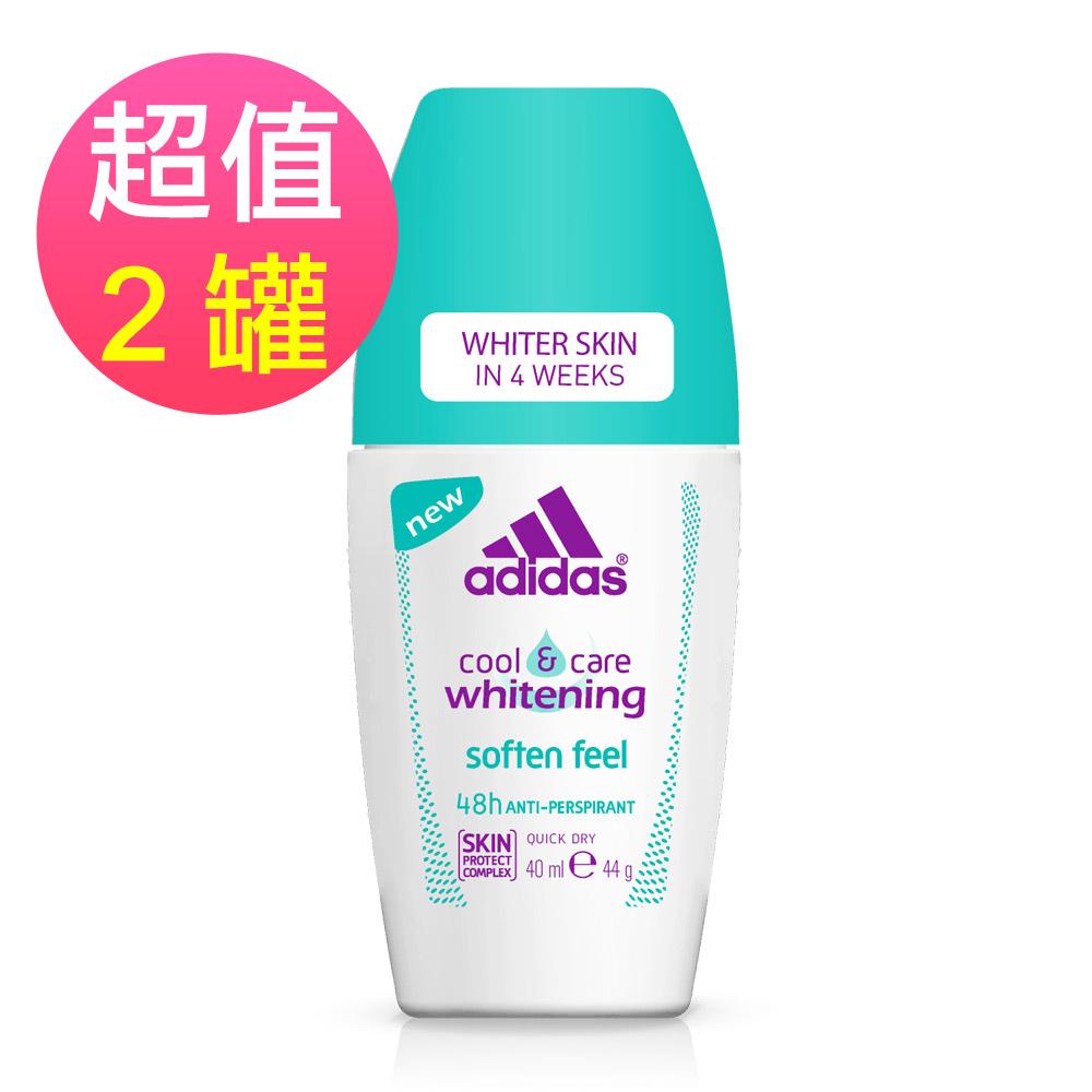 adidas愛迪達 女用制汗香體滾珠(美白柔膚)x2罐(40ml/罐)