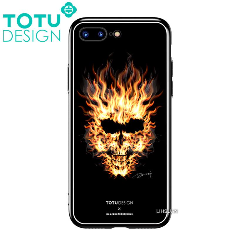 【TOTU台灣官方】鋼化 玻璃 背板 iphone7plus iphone8plus i7+ i8+ 手機殼 防摔殼 四角 全包 軟邊 掛繩孔暗黑骷髏頭
