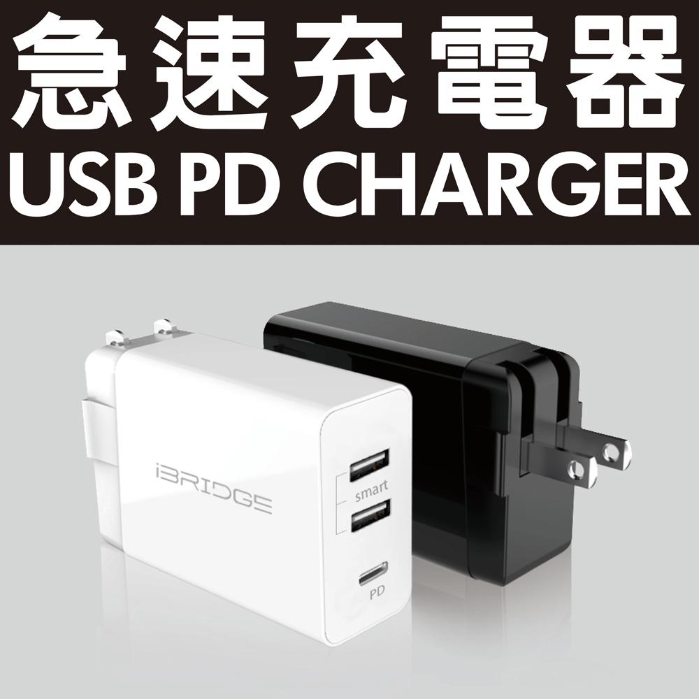 IBRIDGE PD急速雙USB充電器-黑