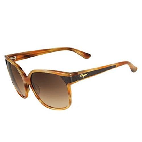 Ferragamo 木紋框太陽眼鏡 棕色黑 622SL 260