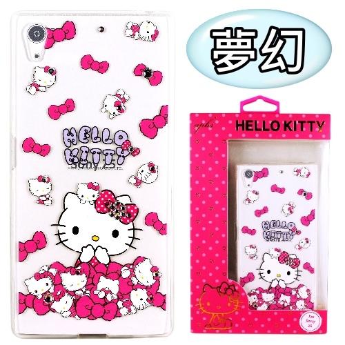 【Hello Kitty】SONY Xperia Z5 (5.2吋) 彩鑽透明保護軟套(夢幻)
