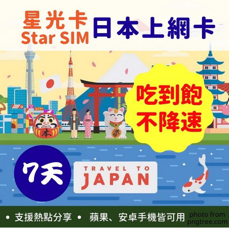星光卡-日本上網卡7天不降速不限量吃到飽