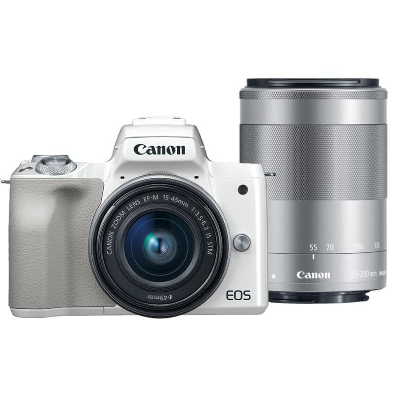 Canon EOS M50 15-45mm+55-200mm 雙鏡組(公司貨)_白色-送吹球+拭鏡筆+拭鏡布
