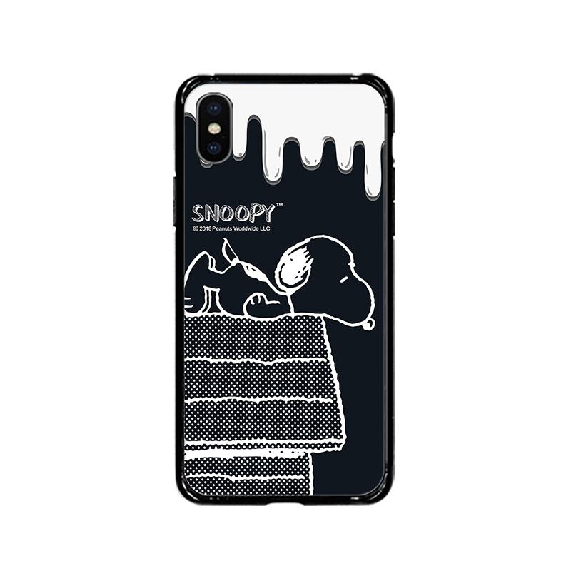 【正版授權】SNOOPY iPhone XR 6.1吋 全包邊鋼化玻璃保護殼_黑色幽默