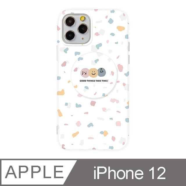 iPhone 12 6.1吋 Smilie笑臉水磨石氣囊支架iPhone手機殼 碎花三胞胎