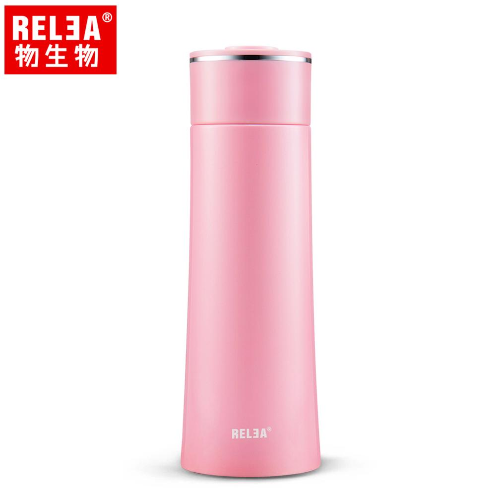 【香港RELEA物生物】400ml漫雪304不鏽鋼真空保溫杯(妃紅色)