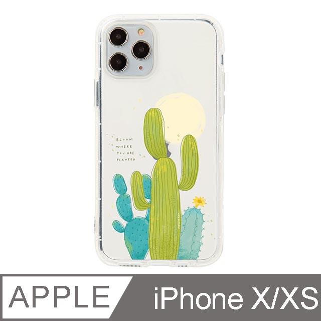 iPhone X/Xs 5.8吋 Mandie園藝小日子插畫防摔iPhone手機殼 仙人掌