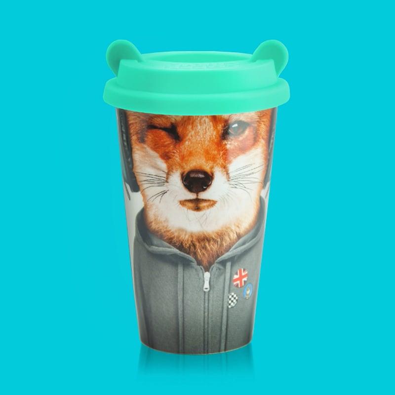 英國 Mustard 雙層隔熱陶瓷杯 - 狐狸飛行員