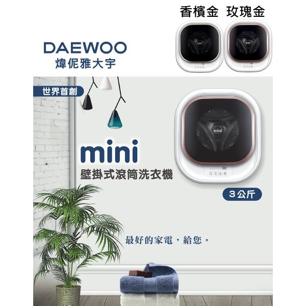 DAEWOO煒伲雅大宇3公斤壁掛式滾筒洗衣機香檳金DWD-M320WG