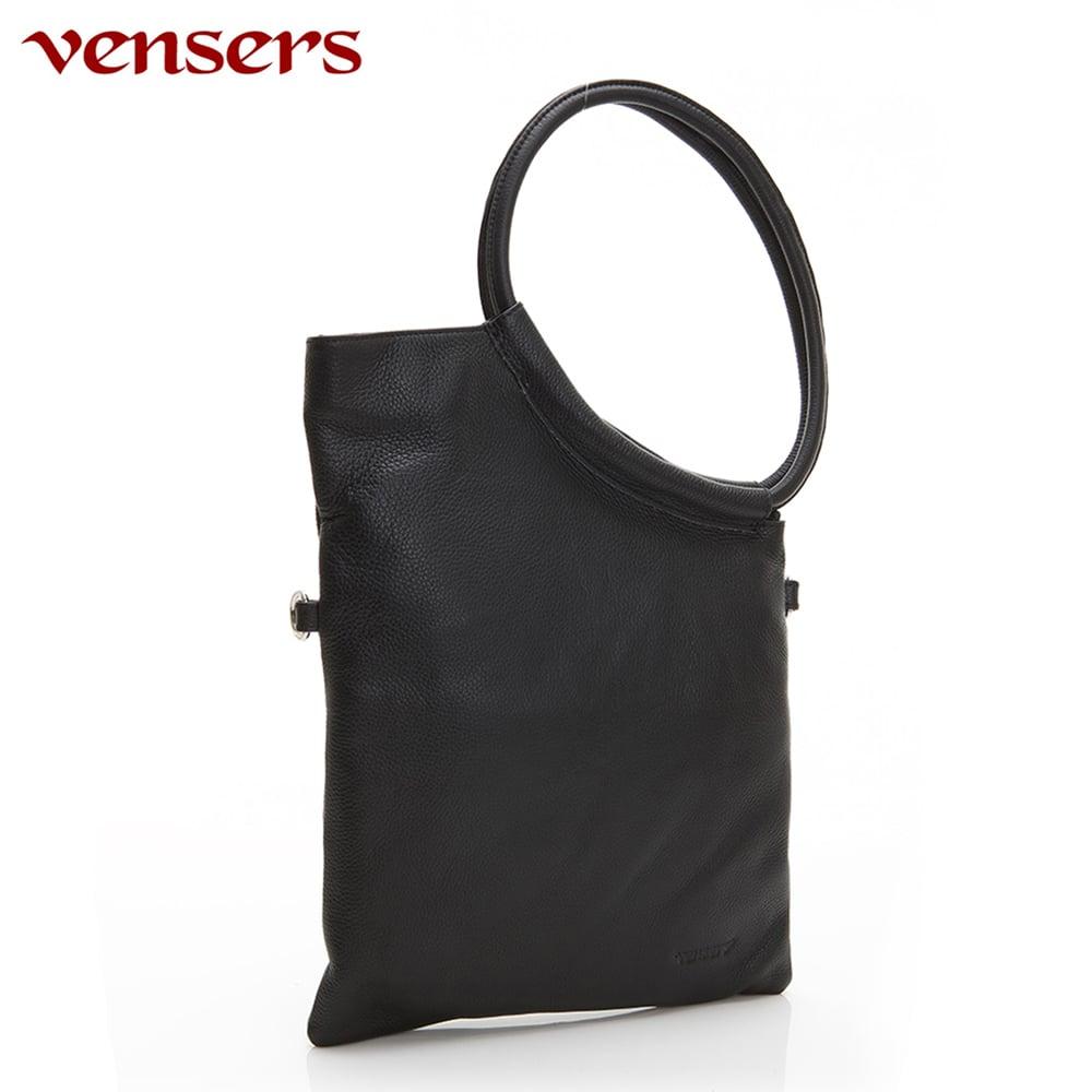 【vensers】小牛皮潮流個性包~斜肩背包(NB1671801黑色)