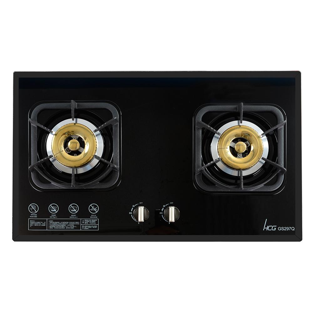 和成HCG 雙環銅合金爐蓋鑄鐵爐架強化玻璃檯面式二口瓦斯爐 GS297Q (天然瓦斯適用)