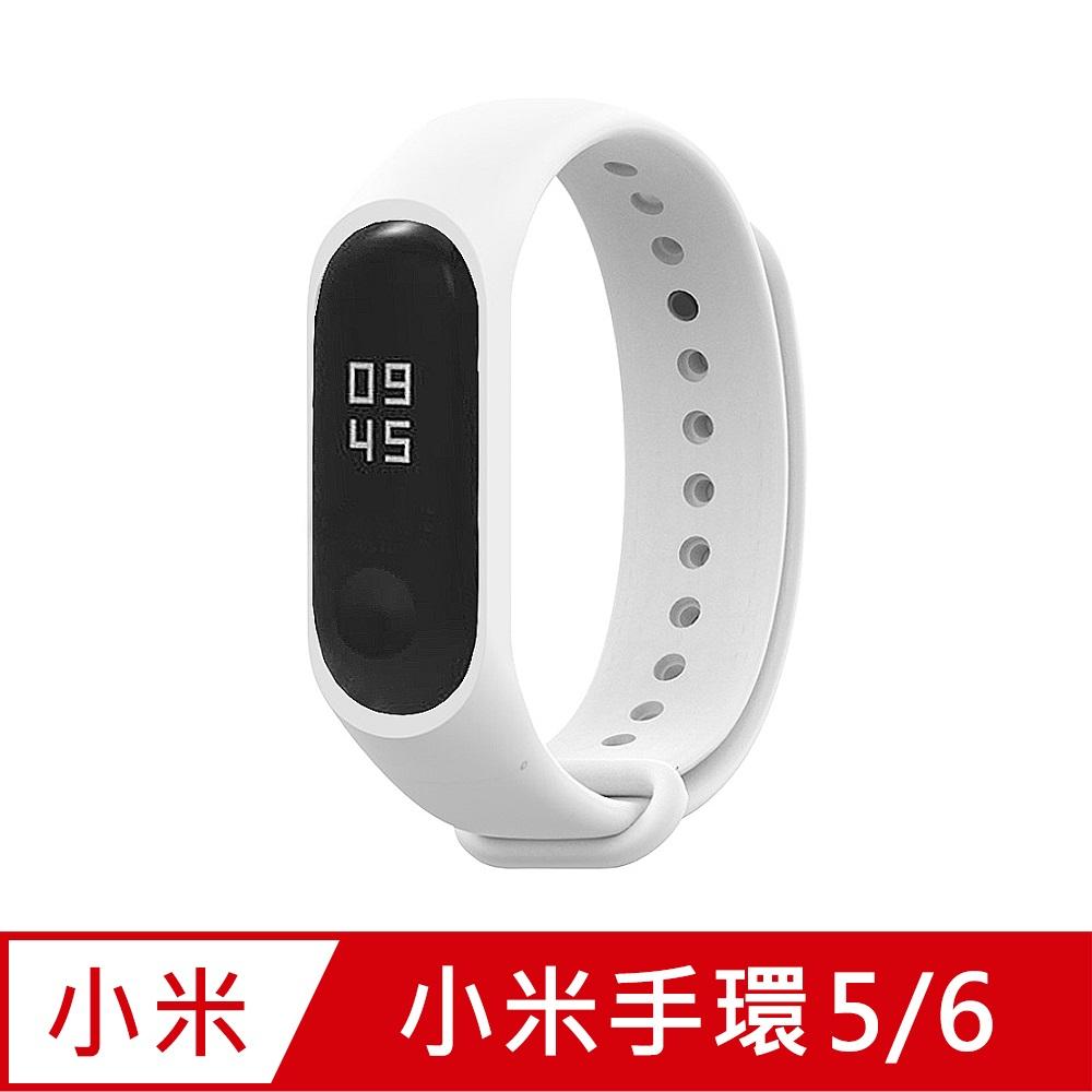 小米手環6代/5代/Amazfit華米 Band 5通用 矽膠運動替換錶帶-白色