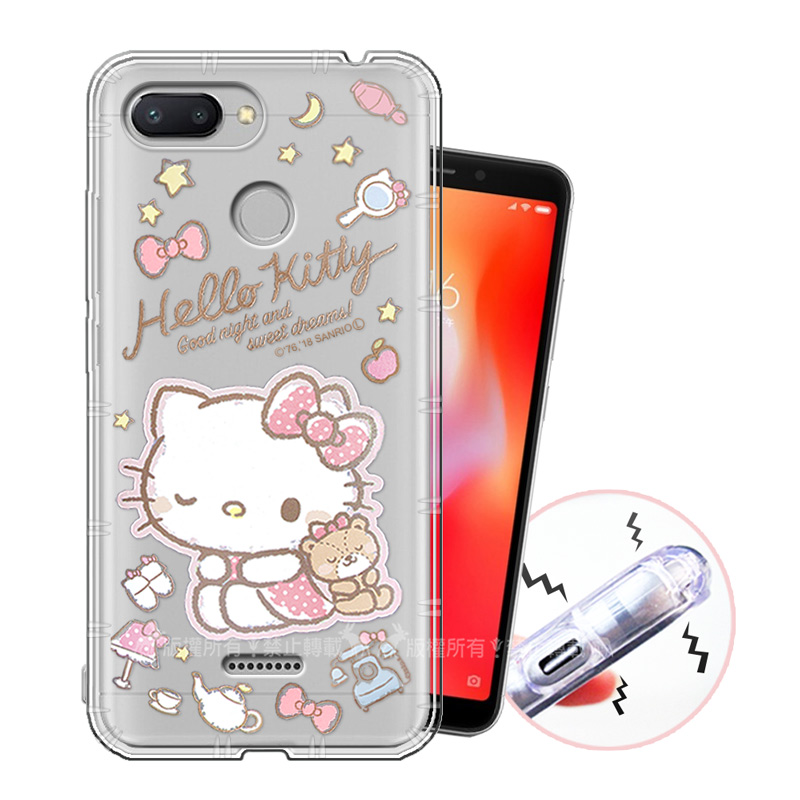 三麗鷗授權 Hello Kitty凱蒂貓 紅米6 甜蜜系列彩繪空壓殼(小熊)