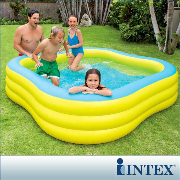 【INTEX】方型黃色大型戲水游泳池(1215L)(57495)