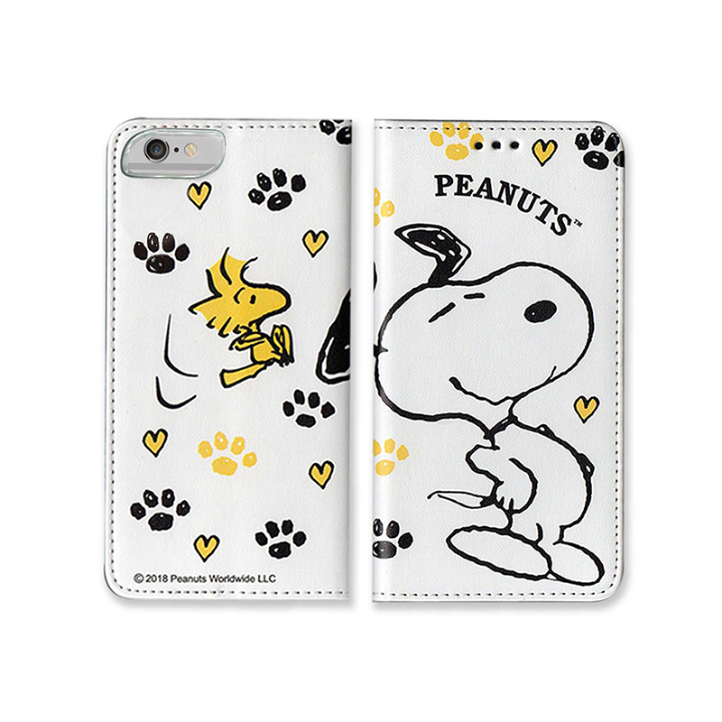 【正版授權】SNOOPY iPhone6/6s/7/8 4.7吋 彩繪翻蓋保護皮套_一起搖擺