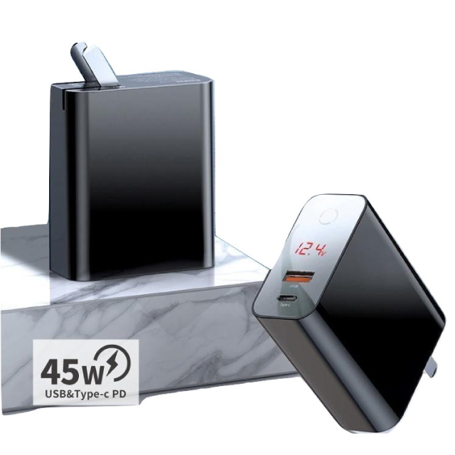Baseus 倍思 飛速PPS智慧斷電數顯45W快充充電器 -黑色