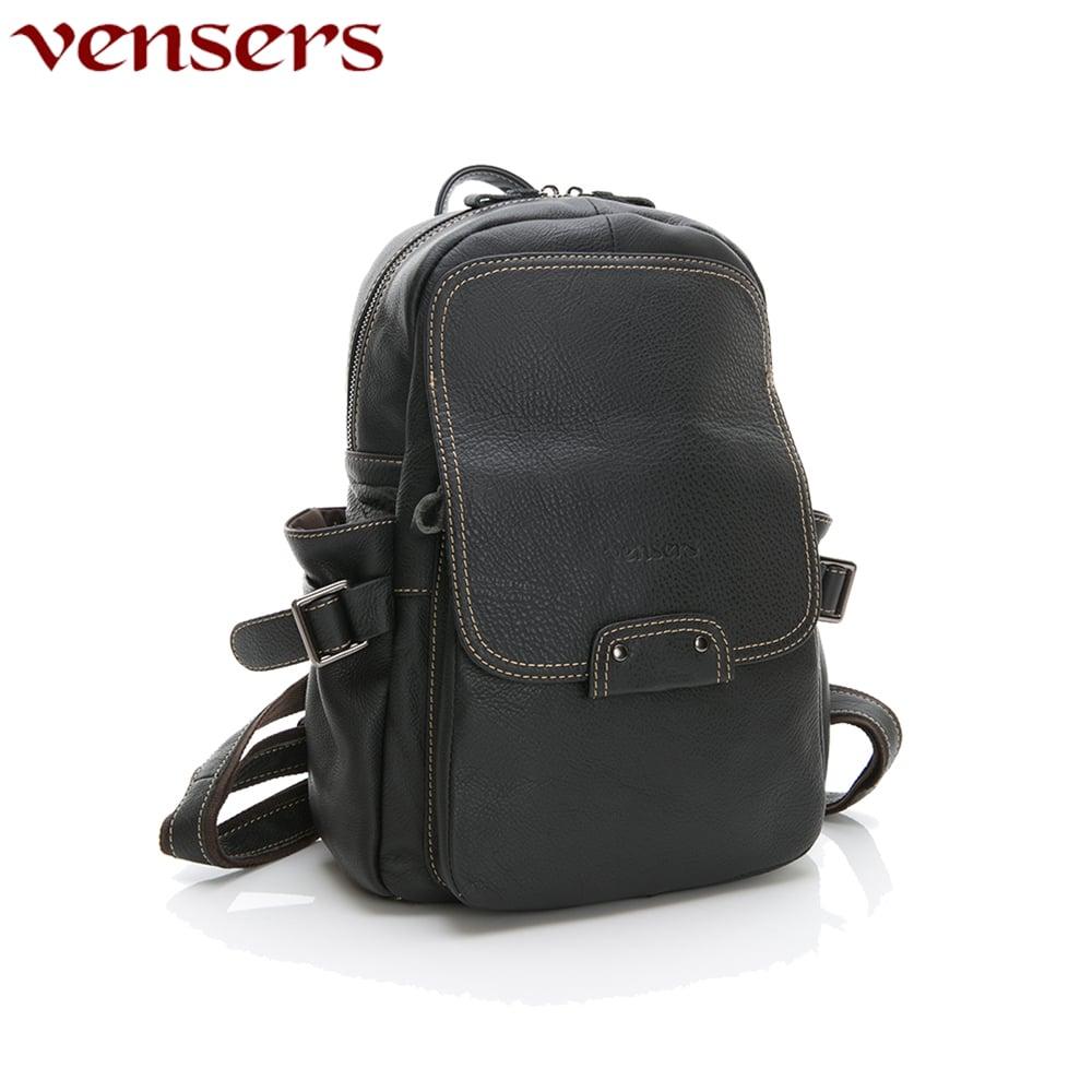 【vensers】小牛皮潮流個性包~後背包(N30201黑色)