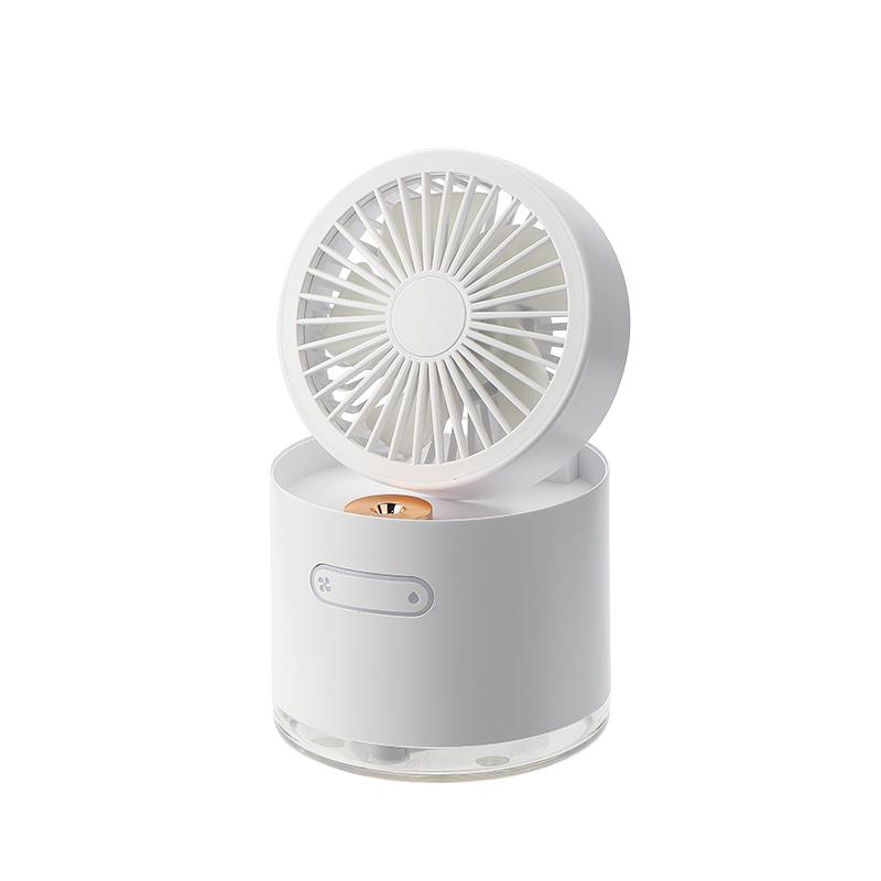 【HBLINK】可摺疊旋轉 加濕隨身風扇 - 白