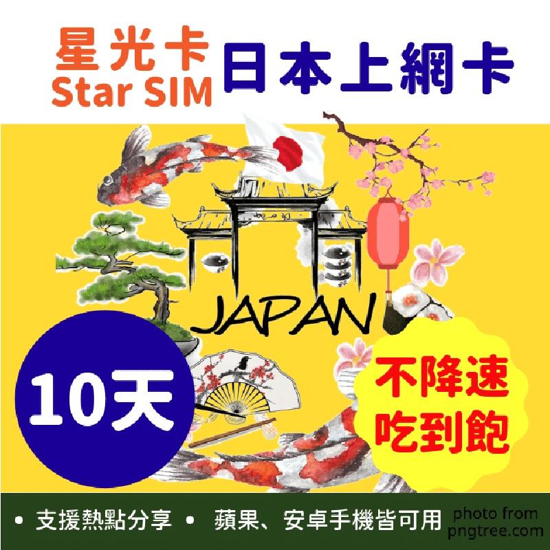 星光卡-日本上網卡10天不降速不限量吃到飽