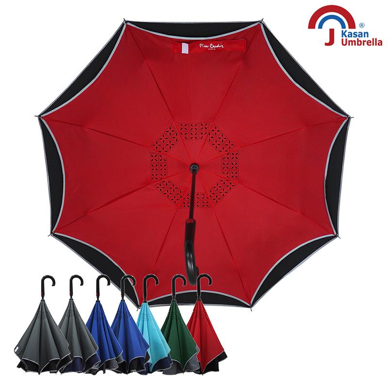 【皮爾卡登】雙層紳士自動反向傘-紅黑