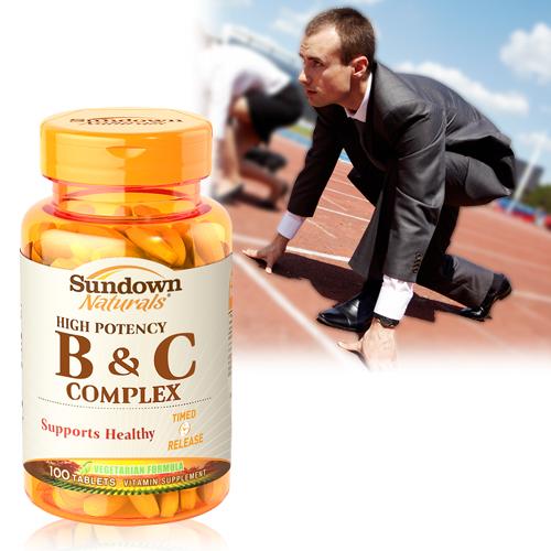 【超值優惠】Sundown日落恩賜 高單位緩釋型B群+C(B12強化配方)(100錠/瓶)