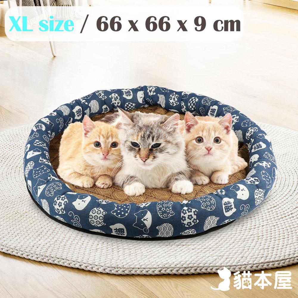 貓本屋 日式和風寵物涼蓆墊(XL號/66x66cm)-藍底白貓