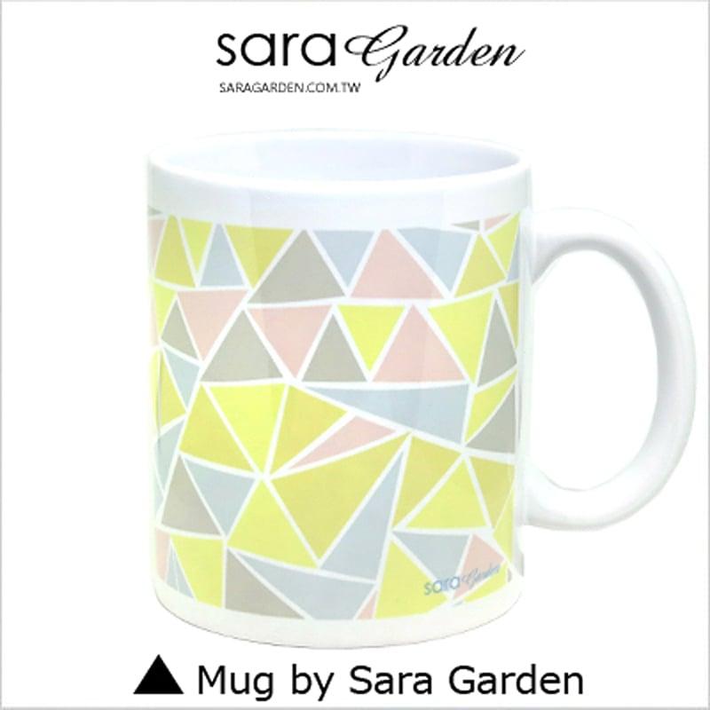 【Sara Garden】客製 手作 彩繪 馬克杯 Mug 馬卡龍色 三角 撞色 圖騰 咖啡杯 陶瓷杯 杯子 杯具 牛奶杯 茶杯