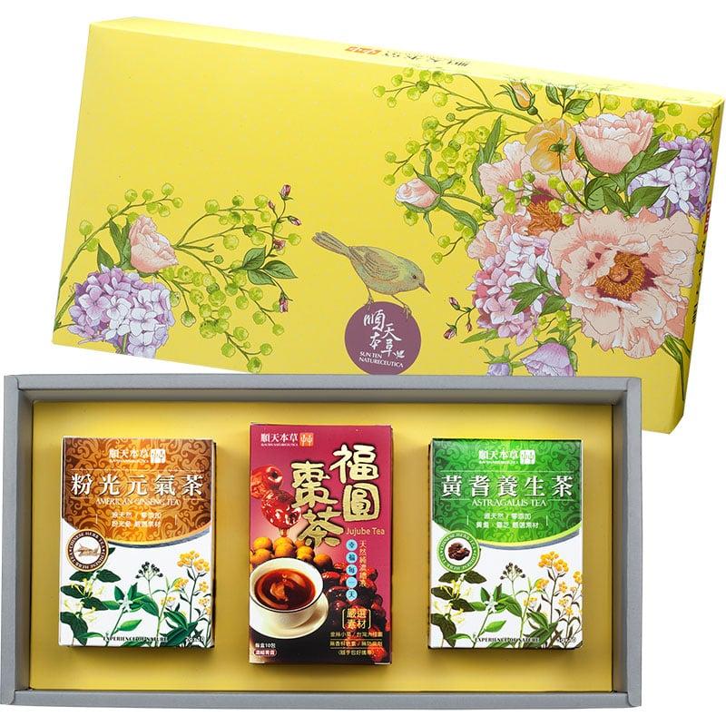 順天本草【棗到福氣禮盒】黃耆養生茶x1+粉光元氣茶x1+福圓棗茶x1