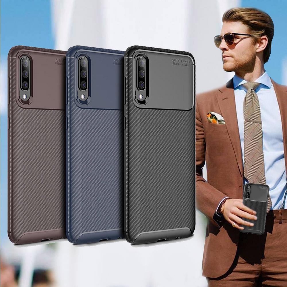 爵士焦點 三星 Samsung Galaxy A70 碳纖維防指紋軟式手機殼(可可咖)