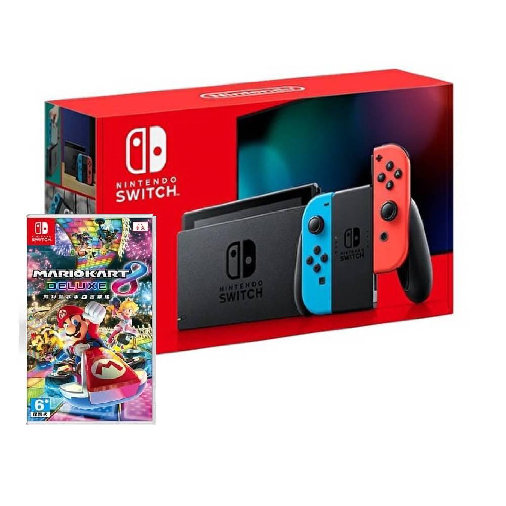 Nintendo Switch 主機 電光紅藍 (電池加強版)+瑪利歐賽車8豪華版中文版【再送好禮】