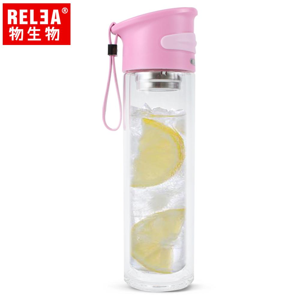【香港RELEA物生物】350ml學士雙層玻璃杯(文藝粉)