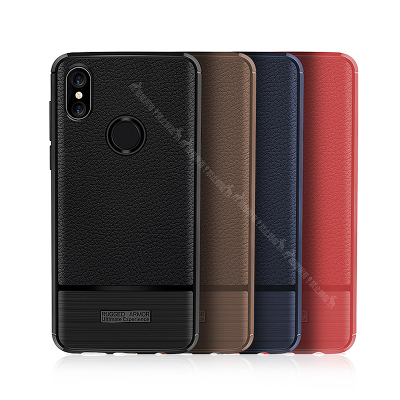 VXTRA 紅米Note 5 防滑手感皮紋 軟性手機殼 (暗藍)