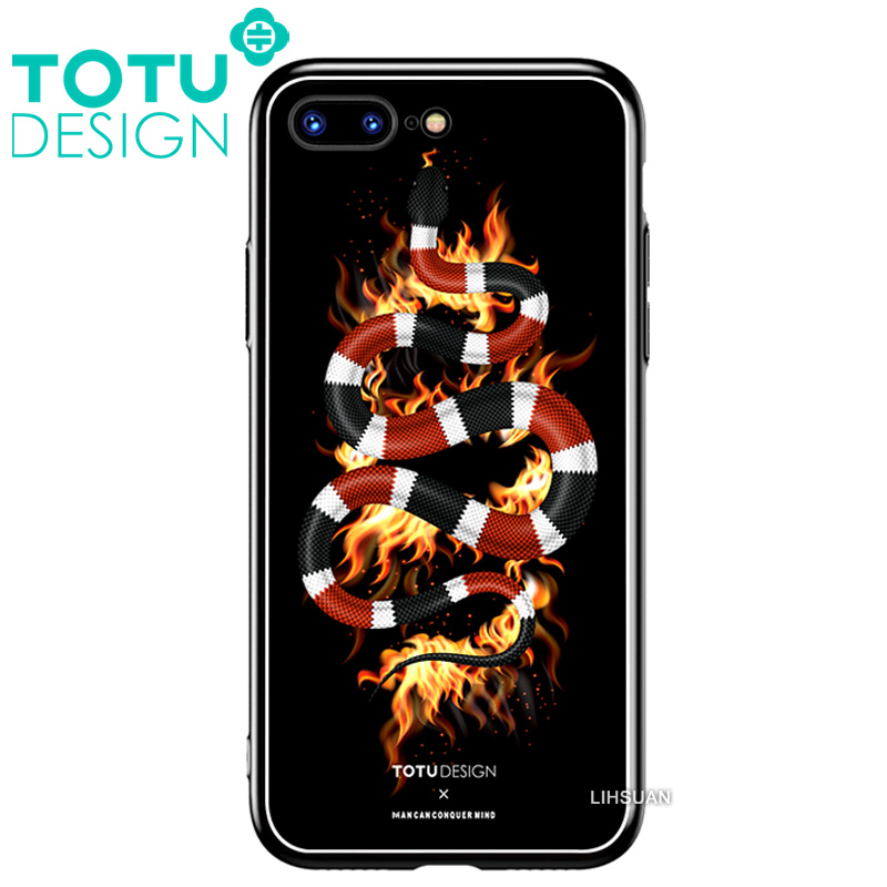 【TOTU台灣官方】鋼化 玻璃 背板 iphone7plus iphone8plus i7+ i8+ 手機殼 防摔殼 四角 全包 軟邊 掛繩孔 暗黑珊瑚蛇