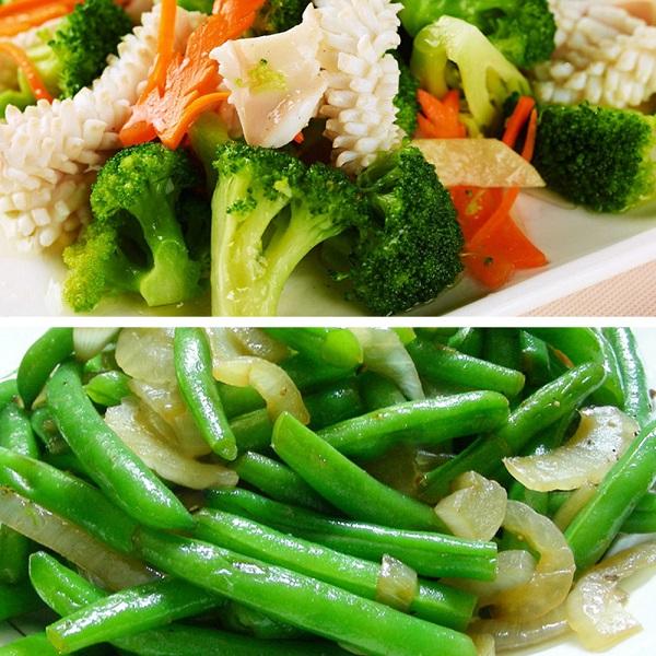 預購《老爸ㄟ廚房》鮮凍蔬食沙拉 贈芝麻醬 (青花菜x2+四季豆x2)