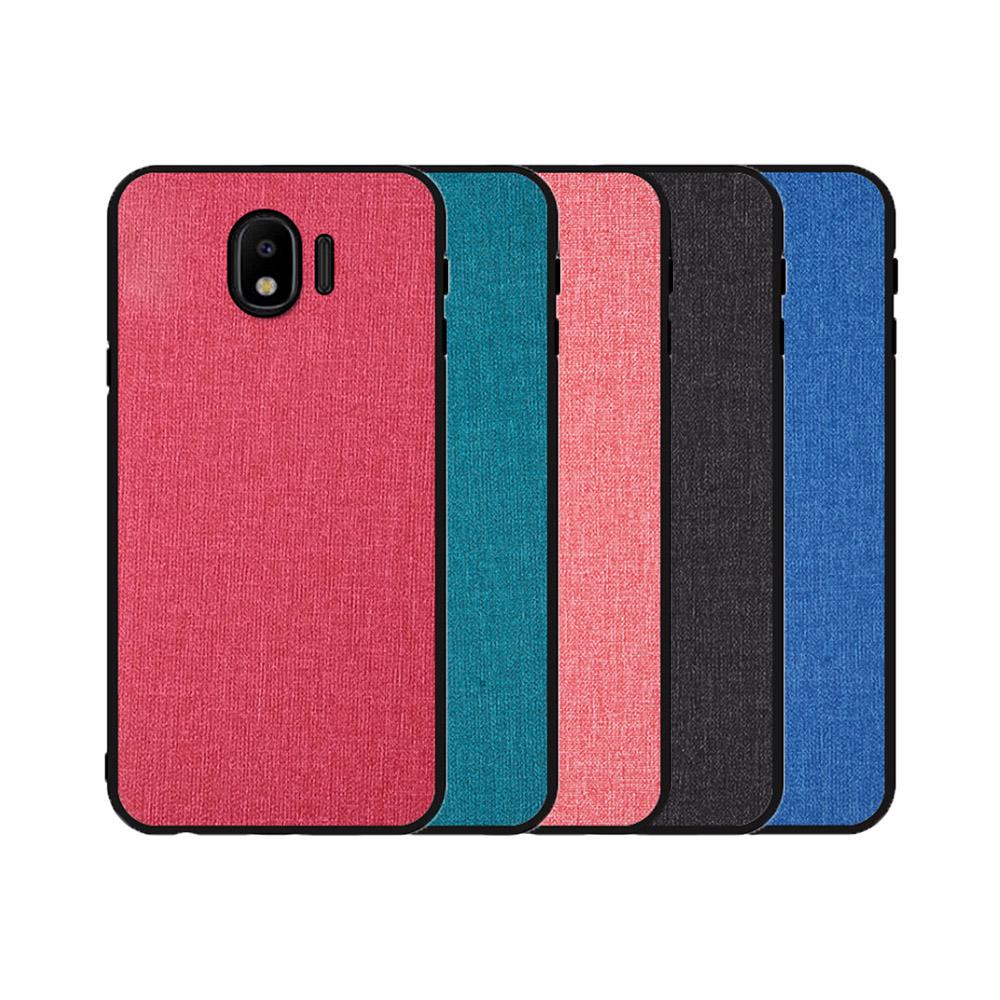 QinD SAMSUNG Galaxy J4 布藝保護套(格調藍)