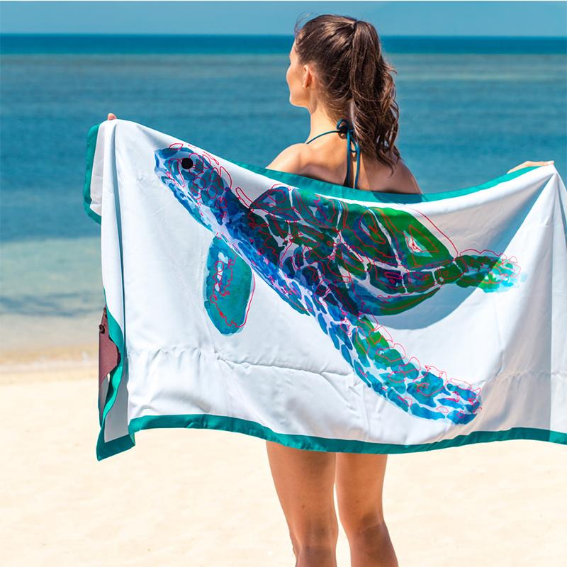 【Lagu】快乾防沙毯 沙灘巾 -海龜