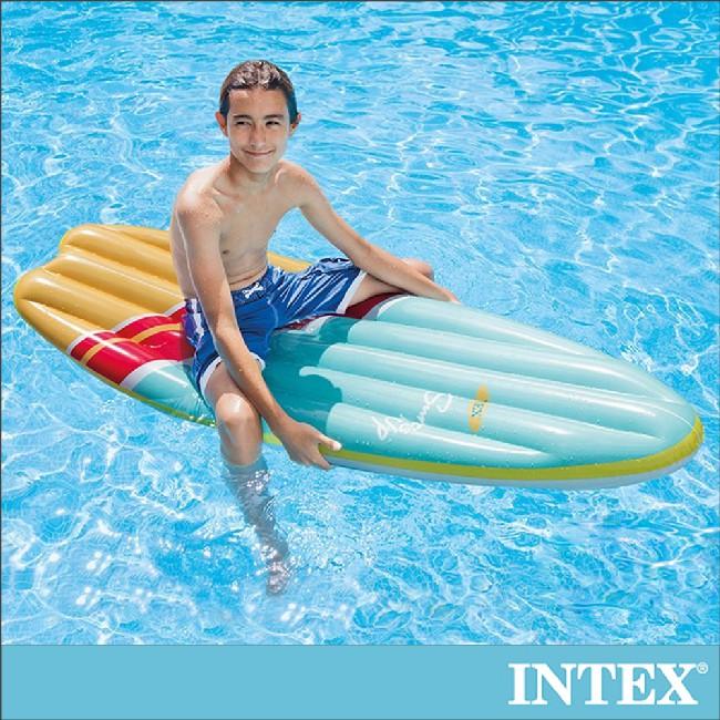【INTEX】衝浪板造型浮排178x69cm-水藍 適用:成人(58152)